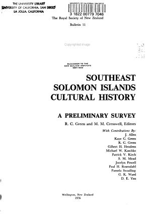 Southeast Solomon Islands Cultural History