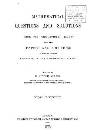 Mathematical Questions with Their Solutions PDF