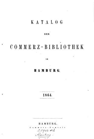 Katalog der Commerz Bibliothek in Hamburg PDF