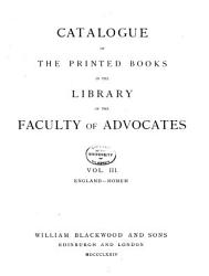 Catalogue Of The Printed Books In The Library Of The Faculty Of Advocates England Homem 1874 Book PDF