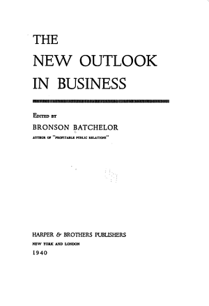 The New Outlook in Business PDF