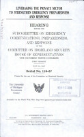 Leveraging the Private Sector to Strengthen Emergency Preparedness and Response PDF