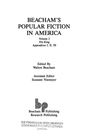 Beacham s Popular Fiction in America