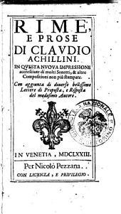 Rime, e prose di Claudio Achillini