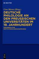 Deutsche Philologie an den preu  ischen Universit  ten im 19  Jahrhundert PDF