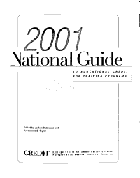 The National Guide to Educational Credit for Training Programs PDF