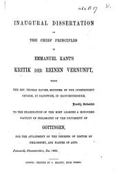 Chief Principles in Emmanuel Kant's Kritik Der Reinen Vernunft