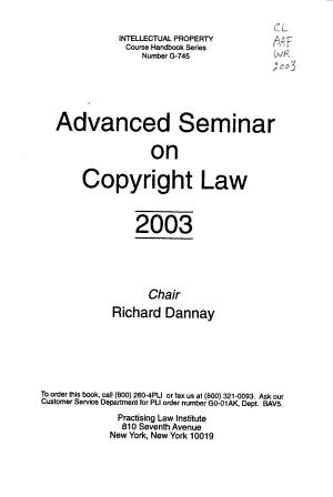 Advanced Seminar on Copyright Law