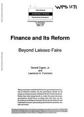 Finance and Its Reform: Beyond Laissez-faire, Volume 1171