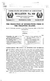 The Production of Binder-twine Fiber in the Philippine Islands: Volumes 926-950