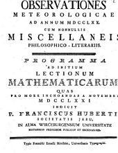 Observationes meteorologicae ad a. 1770, cum nonnullis miscellaneis philos. liter