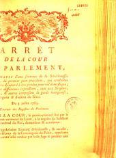 Arrêt de la Cour de Parlement conformatif d'une sentence de la Sénéchaussée de Lyon, du premier juin precedent, qui condamne Magdeleine Liottard a être pendue pour vol domestique... Du 5 juillet 1763