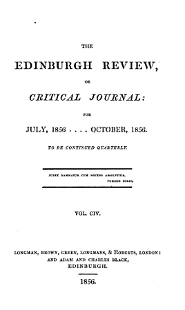 THE EDINBURGH REVIEW  OR CRITICAL JOURNAL  FOR JULY  1856   OCTOBER  1856 PDF
