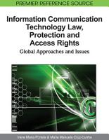 Information Communication Technology Law  Protection and Access Rights  Global Approaches and Issues PDF