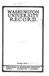 Washington University Record: Volumes 15-16