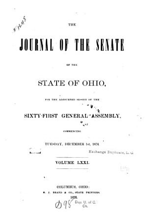 Journal of the Senate of the     General Assembly of the State of Ohio     PDF