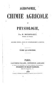 Agronomie, chimie agricole et physiologie: Volume 4