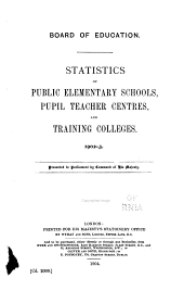 Statistics of Public Elementary Schools and Training Colleges