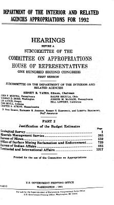 Department of the Interior and Related Agencies Appropriations for 1992: Justification of the budget estimates, Geological Survey