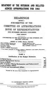 Department of the Interior and Related Agencies Appropriations for 1992  Justification of the budget estimates  Geological Survey