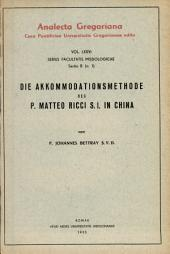 Die Akkomodationsmethode des P. Matteo Ricci S. J. in China