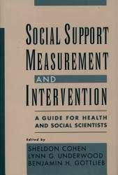 Social Support Measurement And Intervention Book PDF