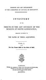 Inventory of the Objects in the Art Division of the Museum at South Kensington
