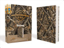 Niv  Outdoorsman Bible  Lost Camo Edition  Leathersoft  Red Letter Edition  Comfort Print