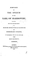Substance of the speech of the earl of Harrowby  on moving for the recommitment of a bill for the better supprt and maintenance of stipendiary curates  on Thursday  the 18th of June  1812 PDF