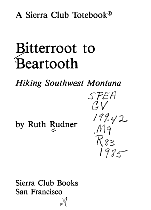 Bitterroot to Beartooth PDF