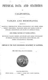 Physical Data and Statistics of California: Tables and Memoranda Relating to Rainfall, Temperature, Winds, Evaporation, and Other Atmospheric Phenomena; Drainage Areas and Basins, Flows of Streams, Descriptions and Flows of Artesian Wells, and Other Factors of Water Supply; Mountain, Valley, Desert, and Swamp-land Areas, Topography of Stream Channels, Elevations Above the Sea, and Other Topographical Features