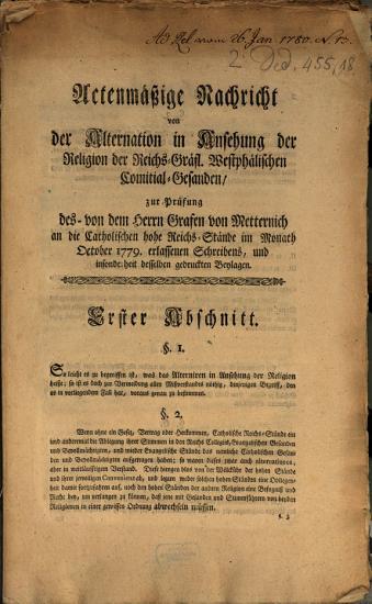 Actenm    ige Nachricht von der Alternation in Ansehung der Religion des Reichs Gr  fl  Westph  lischen Comitial Gesanden PDF