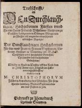 Trostschrift Friedrich Wilhelm Herzog Sachsen Sophia Württemberg