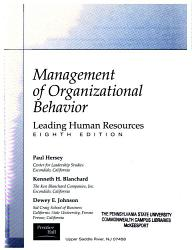 Management Of Organizational Behavior Book PDF