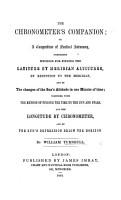 The Chronometer s Companion  Or  a Compendium of Nautical Astronomy PDF