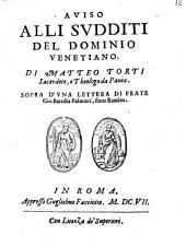 Aviso alli sudditi del dominio Venetiano sopra d'una lettera di frate Gis. Batt. Palmieri, finto Romito