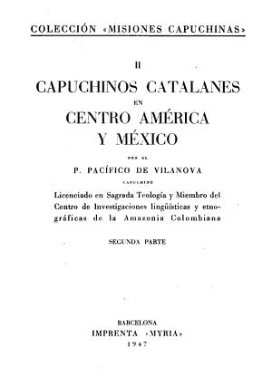 Capuchinos Catalanes En Centro America Y Mexico