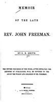 Memoir of the Late Rev  John Freeman PDF