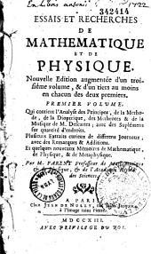 Essais et recherches de mathématique et de physique