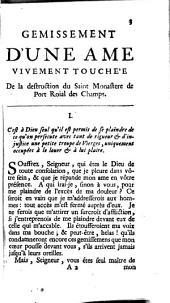 Premier Gémissement d'une àme vivement touchée de la destruction de Port-Royal des Champs