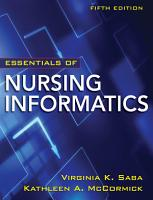 LSC  EDMC ONLINE HIGHER EDUCATION    VSXML Ebook Essentials of Nursing Informatics  5th Edition PDF