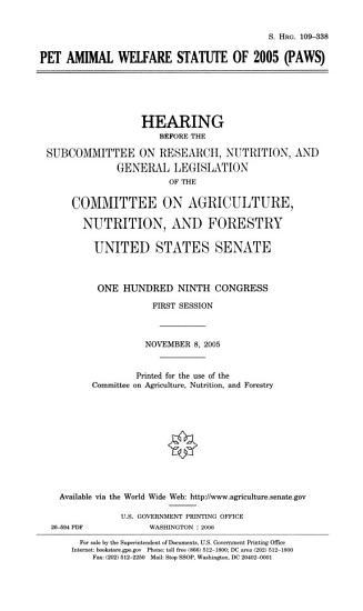Pet Animal Welfare Statute of 2005  PAWS  PDF