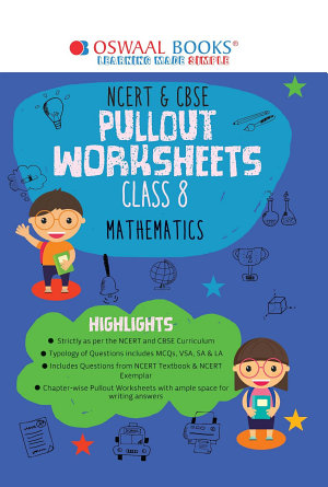 Oswaal NCERT   CBSE Pullout Worksheets Math Class 8  For 2022 Exam