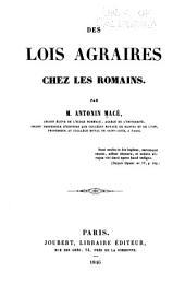 Des lois agraires chez les Romains
