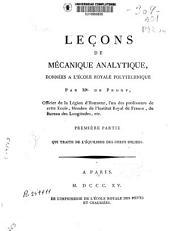 Leçons de mécanique analytique, données a l'ecole royale polytechnique