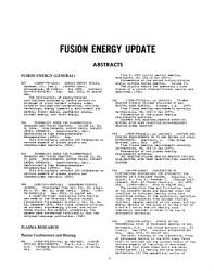 Fusion Energy Update Book PDF
