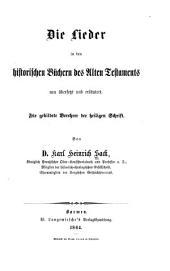 Die Lieder in den historischen Büchern des Alten Testaments: Band 22;Band 350