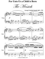 For Unto Us a Child Is Born Easy Piano Sheet Music PDF