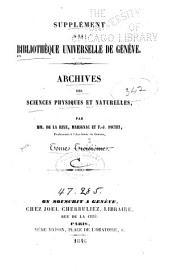 Archives des sciences physiques et naturelles: Volume3