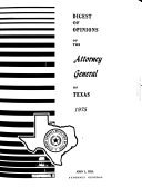 Digest of Opinions of the Attorney General of Texas